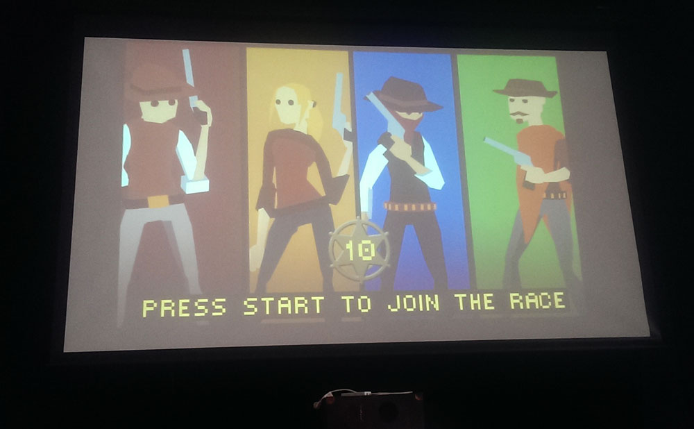 Gundash projected onto a big screen